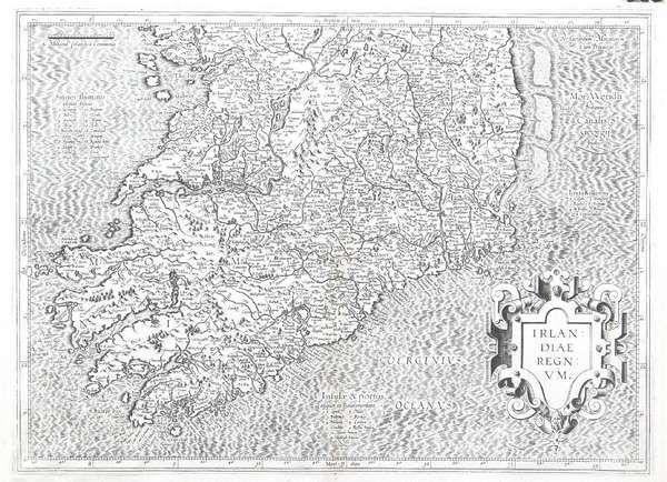 LOT:578 | Gerard Memcator, 1512-1594 Irlandiae Regnum Southern half of the country From the Atlas sive cosmographiccae meditationes de fabrica mundi er fabricaiti figura Engraving. 380 x 505mm (sheet)