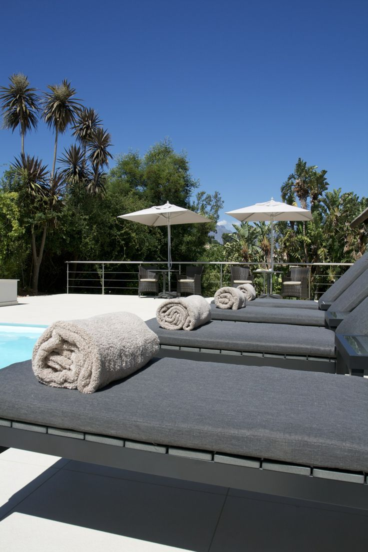 Sun loungers at the pools terrace of Cape Vermeer boutique hotel