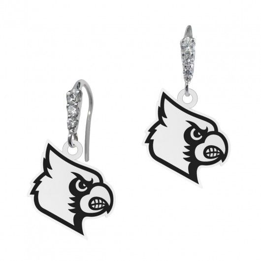 Louisville Cardinals CZ Logo Earrings  This Collegiate Earrings features 6 round cubic zirconia subtly accenting your favorite schools logo. Solid Sterling Silver - NOT PLATED  6 Full Cut Round Cubic Zirconia  #louisville #college #jewelry #university #cards #cardinals #earrings #cz
