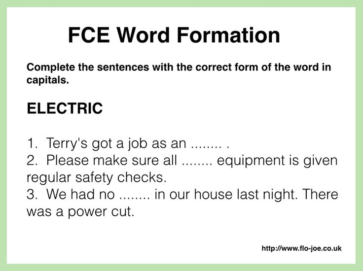 FCE Use of English: word formation