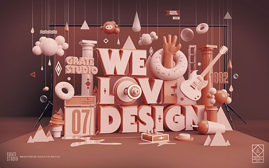 3d typography artwork: We Love Design