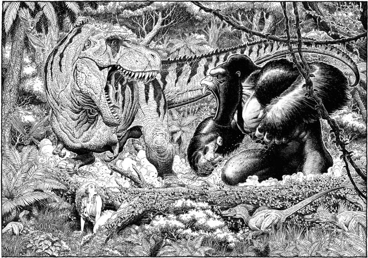 King Kong vs T. rex ~ Art by Arthur Adams ~ I love the small dinos approaching Ann Darrow