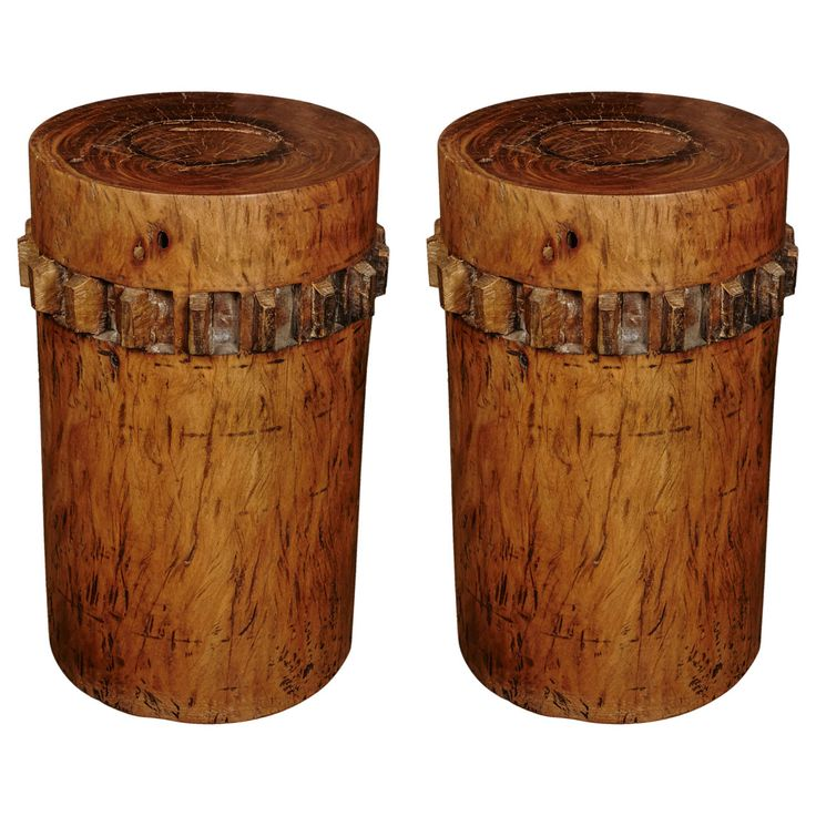 Pair of huge early XXth century sugar cane crushers made of Philippine  Molave wood.