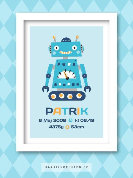 Fin födelsetavla med blå, retro robot. Dekoration för barnrum. Passar bra som present till någon som nyss fött barn