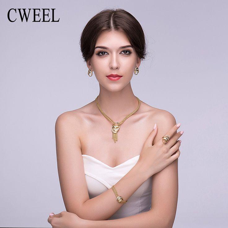 Cweel kolye kadınlar için afrika boncuk taklit kristal takı setleri set püskül kolye küpe bilezik düğün aksesuarları