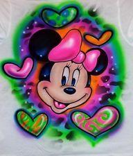 Disney Airbrush Shirts | Minnie Mouse Hearts and Name animal Airbrush Shirt Fast!