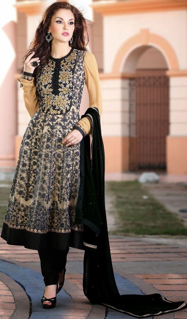 Contemporary Beige Brown and Black Anarkali Salwar Kameez - IG8542 USD $ 100.76