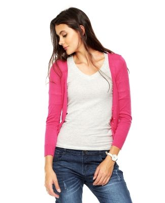 Suéter Pink Connection. Suéter rosa de tejido de punto con manga larga, abotonadura al frente y escote en \