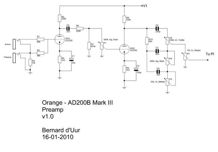 Orange AD200B Mark III preamp schematic