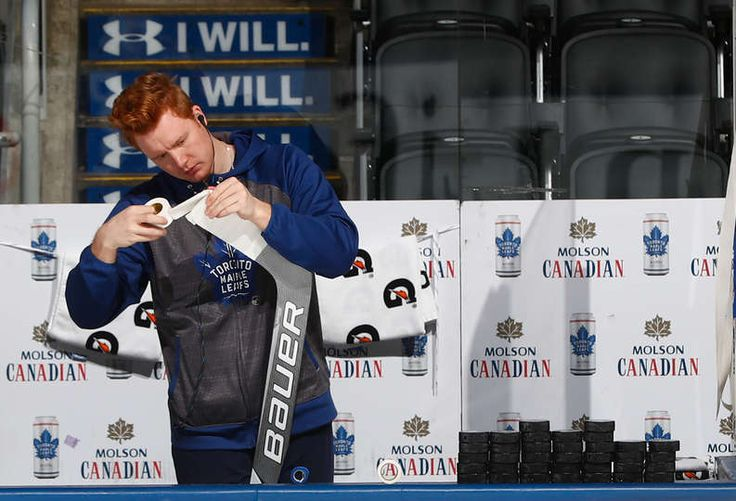TORONTO, ON - JANUARY 21: Frederik Andersen #31 of the Toronto Maple Leafs tapes his stick before the Leafs face the Ottawa Senators at the Air Canada Centre on January 21, 2017 in Toronto, Ontario, Canada. (Photo by Mark Blinch/NHLI via Getty Images)