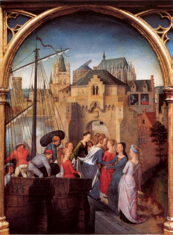 Ганс Мемлинг (нем. Hans Memling, 1433-1494). Прибытие в Кельн. Ursulaschrein 1489 (Брюгге, Memlingmuseum)