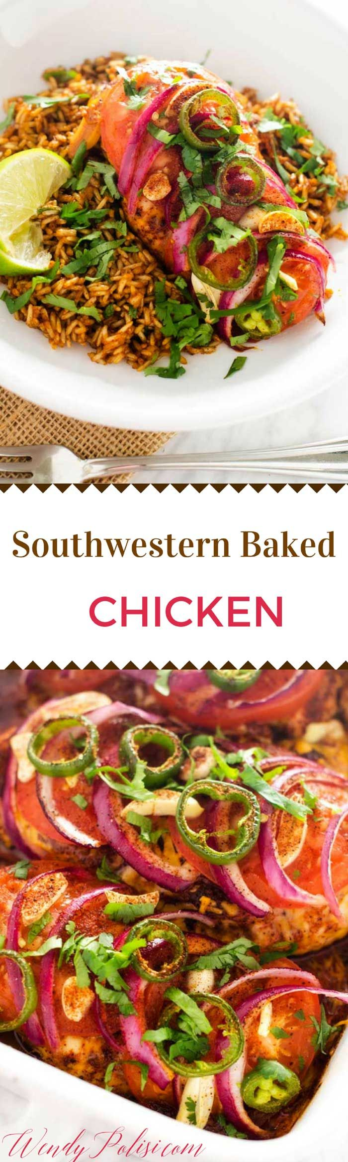 This Southwestern Baked Chicken is a delicious and healthy dinner recipe.  It is easy to make-ahead so that dinner is ready to pop in the oven at the end of a busy day. via @wendypolisi