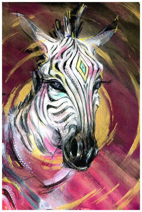 Zebra Art Print  Colorful Art  Wall Art  Rainbow by BlackInkArtz, $12.00...Ashley wants this for her bedroom!! Love it!