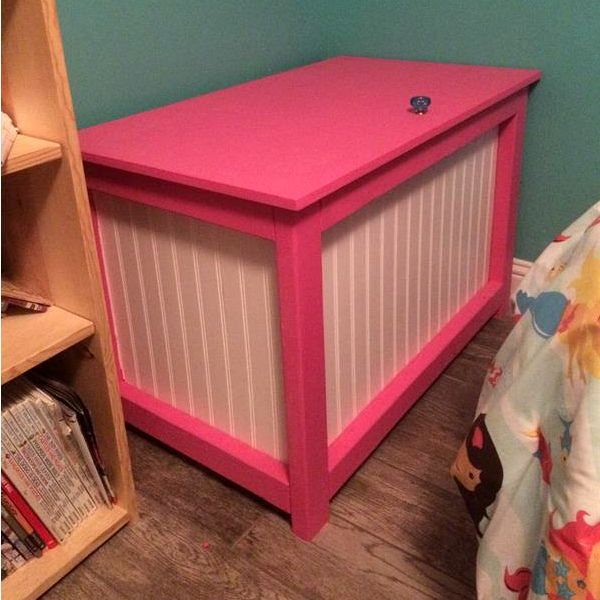 """""""This was the simplest set of plans to follow that I have found. Plus the wainscoting boards make it look more expensive than it is. If you are using it as a toy box, it's easy to personalize."""""""