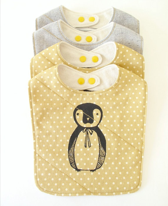 baby bib handmade with silk screened penguin print by downhomeamy, $20.00