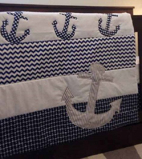 Anchor baby quilt Nautical baby bedding by NanasHandmadeLinens You can buy it here... https://www.etsy.com/listing/217239180/anchor-baby-quilt-nautical-baby-bedding