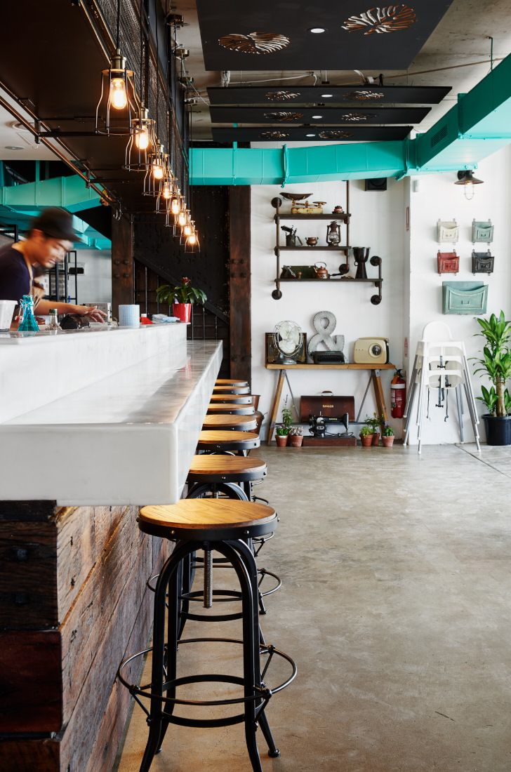 #industrial #rustic #elements #friendly #café #relaxing #atmosphere #vintage #home #kitchen #brick #interior #brown #grey #green #colours #carved #ceiling #panels #light #teal #colour #Furniture #cafe #design #wood