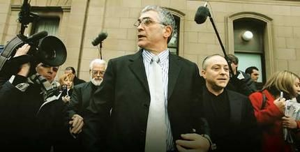 Mick Gatto walks free from the Supreme Court yesterday after being found not guilty by a jury.