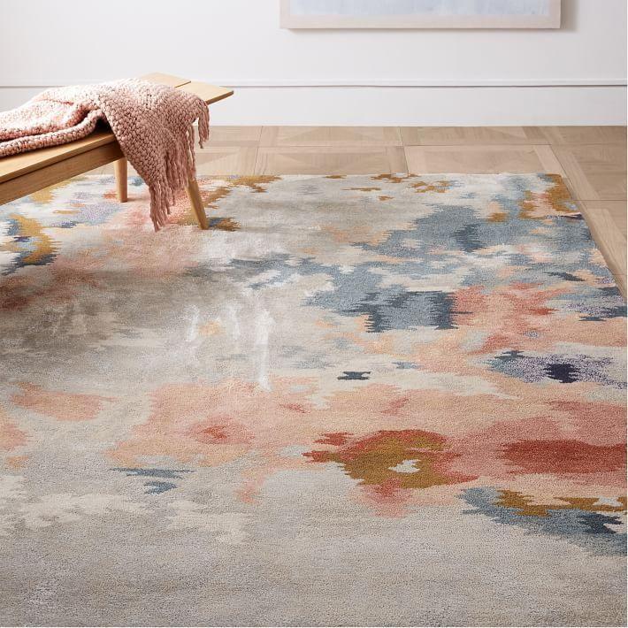 Flame Blush Gray Tufted Wool Rug Abstract Rug Dog Room Decor Rugs