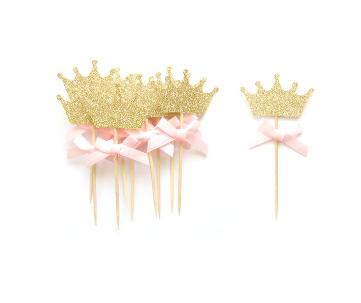 Pink Bow & Gold Glitter Crown Cupcake Toppers  Crown by Pelemele, £4.50