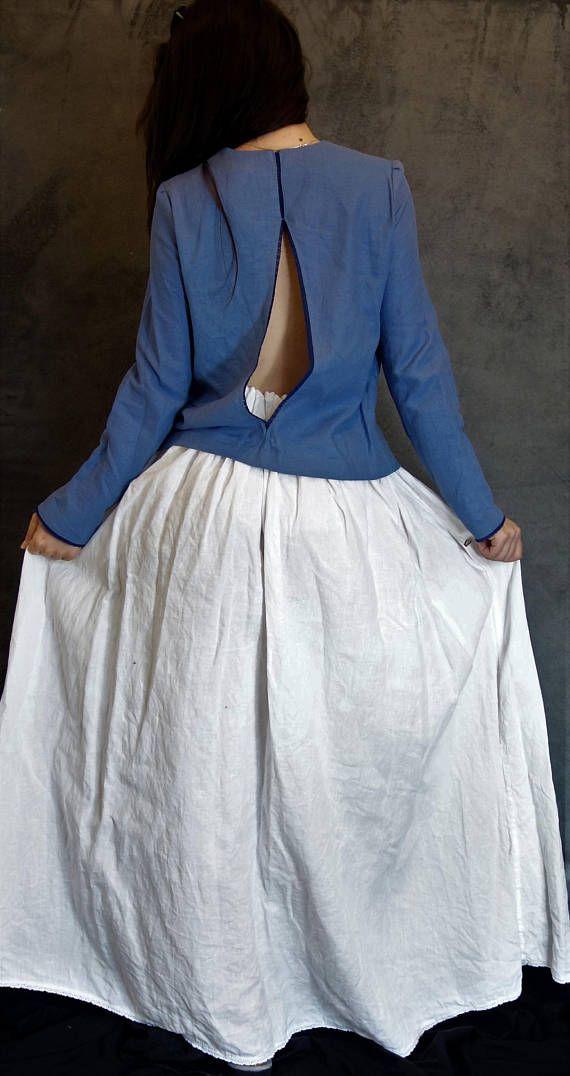 Linen/Cotton Backless Top Blue Handmade Blouse Natural