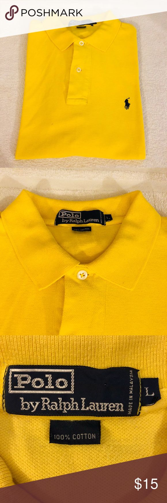 Polo Ralph Lauren Bright Yellow Polo Shirt L Polo Ralph Lauren Solid Bright Yellow With Navy Pony Logo Short Sleeve Polo Shirt size L! Great condition! Please make reasonable offers and bundle! Ask questions! Polo by Ralph Lauren Shirts Polos