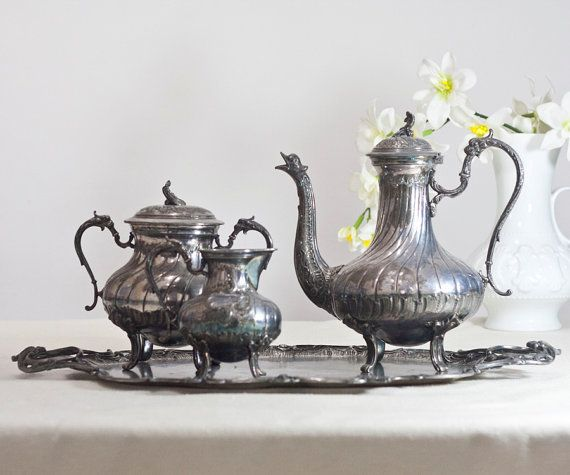 Antique Victorian Tea Set Silver Plated Pewter by CozyTraditions, Christmas Gift for her / Christmas Gift Idea for Women