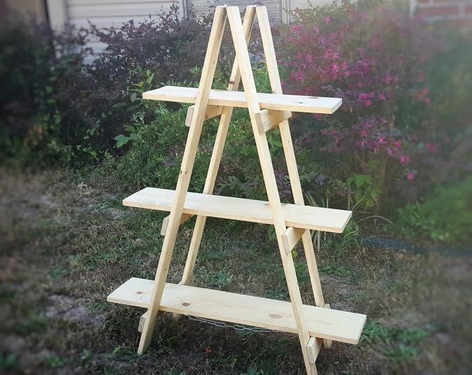 Wooden Ladder Shelf Craft Fair Display 5 Foot Ladder Shelf Etsy In 2020 Wooden Ladder Craft Fair Displays Craft Show Displays