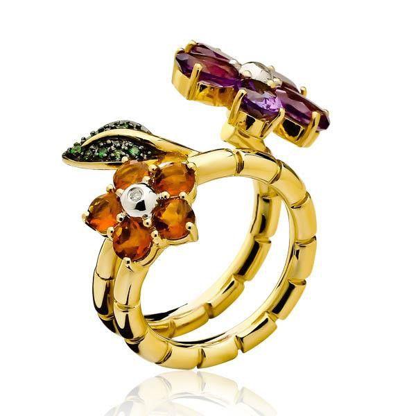 Anel de Ouro Amarelo Flor com Mix de Pedras e Diamantes - Anéis - Joias