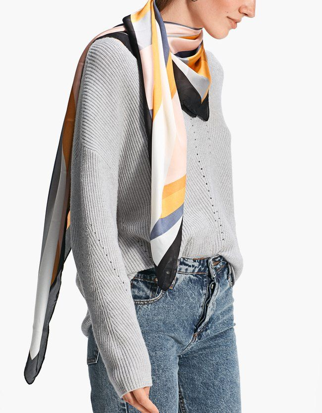 Neck Scarves At Stradivarius Online Visit Now And Discover The Neck Scarves We Have For You Free Returns Fashion Large Silk Scarf Neck Scarves