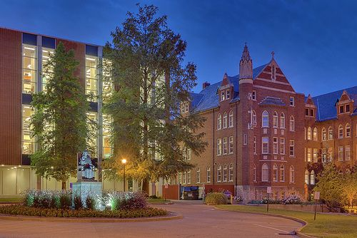 Saint Louis University, in Saint Louis, Missouri, USA - Pope Pius XII Library at dawn by msabeln, via Flickr