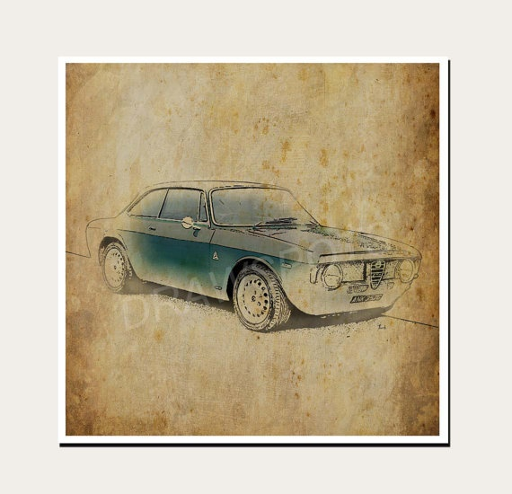 ALFA ROMEO Art Print 16x16in Classic Car Art Print By
