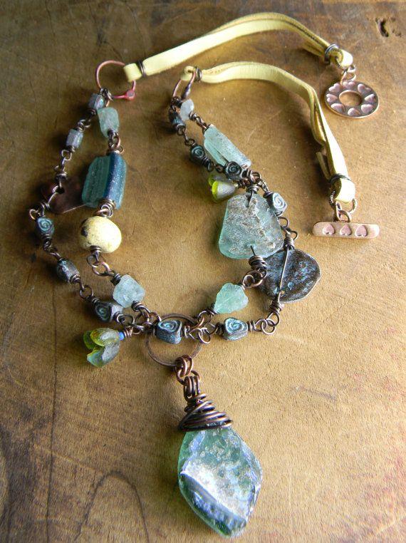 Roman Glass Pendant Necklace Aqua Green Yellow by ChrysalisToo, $95.00
