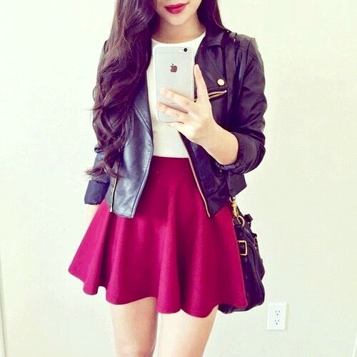red skirt jacket invierno