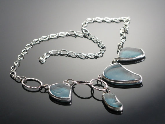 Recycled Bottle Glass Necklace by Monica van der Mars by MonicavanderMars, $49.00: Recycled Bottle, Recycled Glass