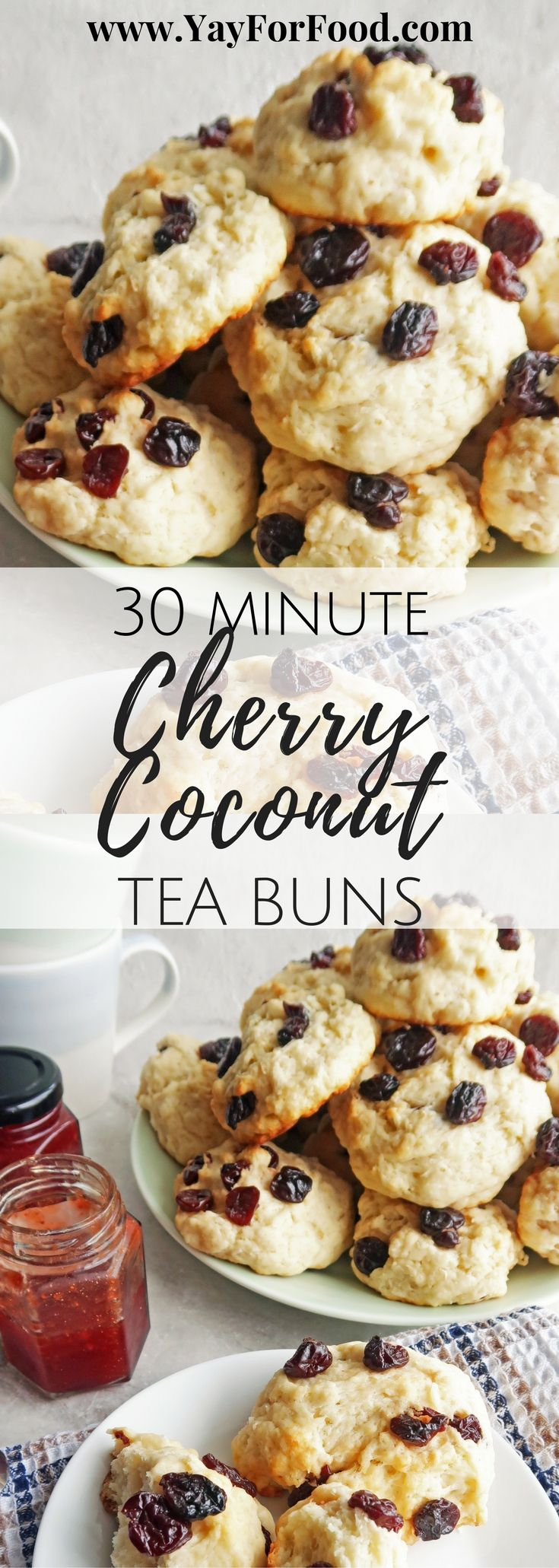 A wonderful combination of shredded coconut and dried cherries are showcased in this delicious tea bun that's ready in 30 minutes! Breakfast | Quick bread | Snacks | Easy recipes | Fast Recipes | Afternoon Tea | Biscuits