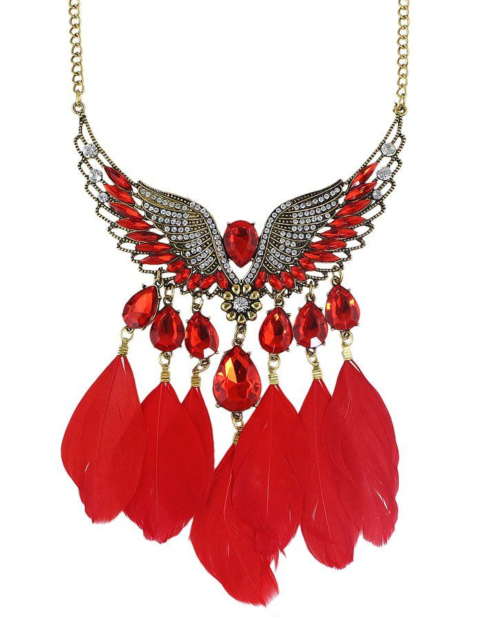 Water Drop Feather Angel Wings Necklace #CLICK! #clothing, #shoes, #jewelry, #women, #men, #hats