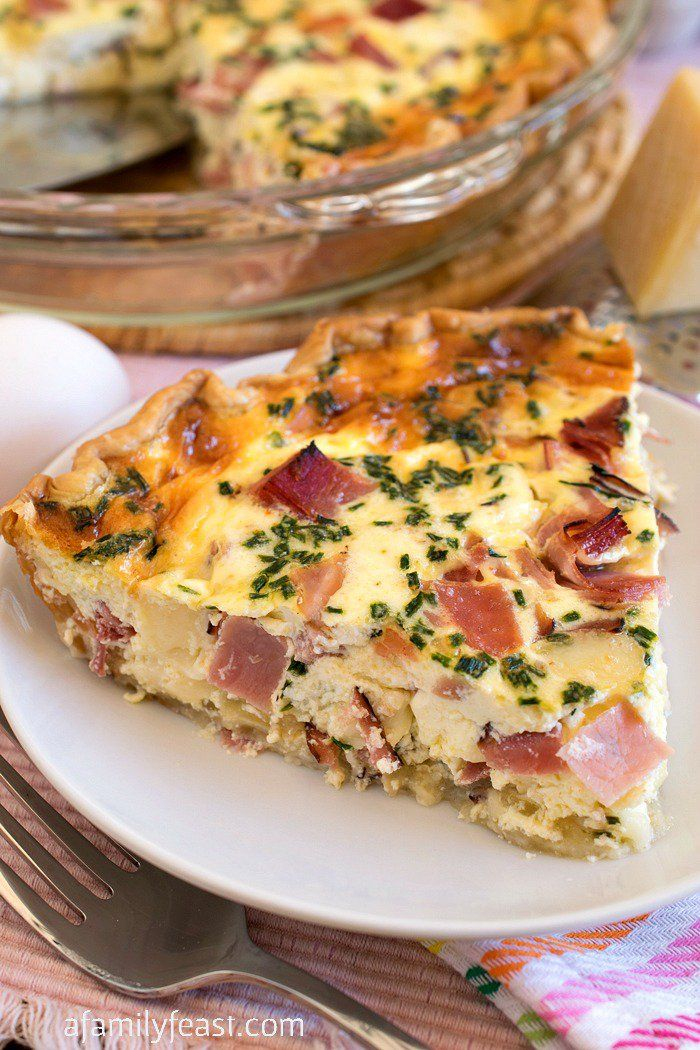 Ham and Swiss Quiche - A classic flavor combination in a quiche. Recipe includes the best quiche custard that can be used with any cheese, meats or veggies you'