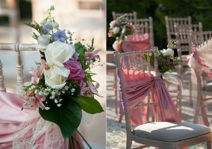 romantic chair decoration at a unique wedding. Chair backs. Cleopatra's Weddings - wedding planner in Greece