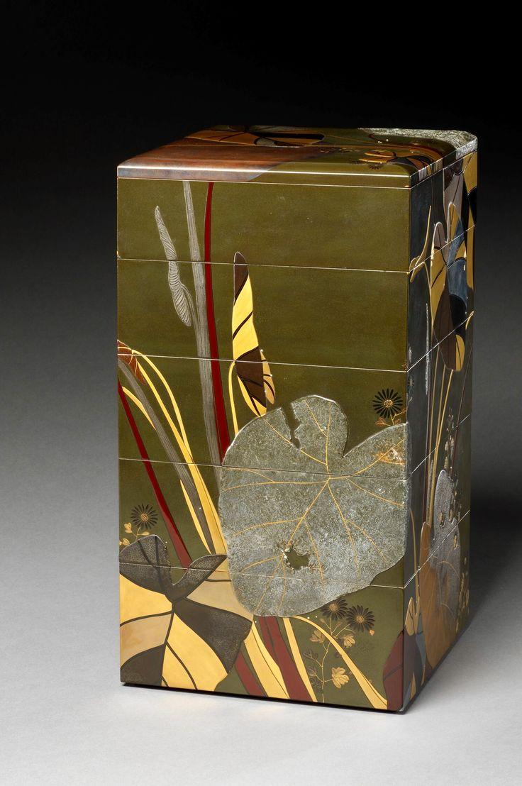 里芋菊蒔絵重箱 Stacked Food Box (Jūbako) with Taro Plants and Chrysanthemums. Shibata Zeshin. late Edo (1615–1868)–early Meiji (1868–1912) period. mid-19th century. Japan. Lacquered wood, gold and silver hiramaki-e, takamaki-e, and colored togidashimaki-e. The Metropolitan Museum of Art.