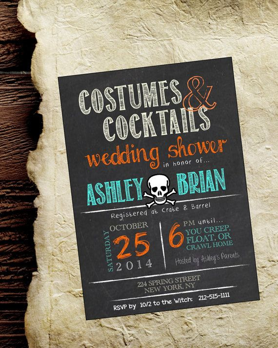 Halloween Bridal Shower Invite. Chalkboard Rustic Wedding Shower Invitation 5x7 customizable. Halloween Party. Adult Costumes & Cocktails by rusticandruffly on etsy.