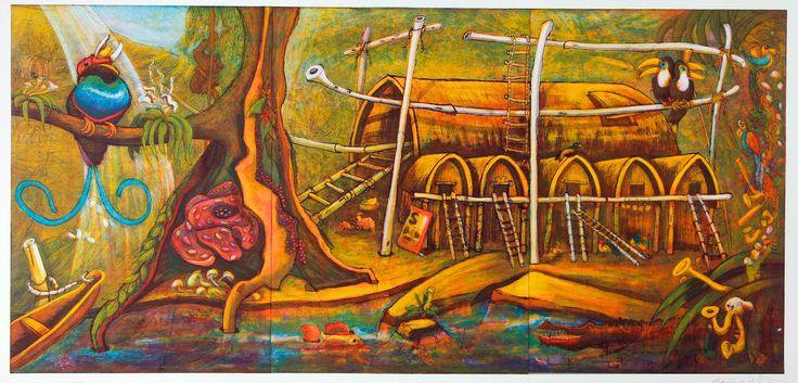 2014-06-06 Deze joekel (1m80 breed en 92cm hoog!) van een kleuren ets is een fantastisch schouwspel.  Ben je je grote TV beu? Hang dan deze voorstelling van een hutten dorp in het regenwood met paradijsvogel en toekan ervoor in de plaats en bewonder dat aanzicht de komende tijd. 'Regenwoud XXI' (5/60) Rob Clous 1995 Ets/Grafiek 92*180 cm 195 euro