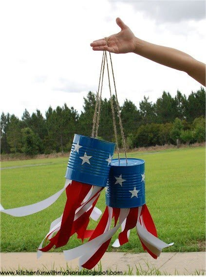 Eco Housekeeping Tip #27: 4th of July tin can windsocks. A fun craft idea for you  the kids using recycled cans that will add some simple decoration to your 4th of July party.  1. Take an old can (Progresso soup cans work great)  puncture two holes with a nail in the bottom of the can.  2. Decorate the can with some patriotic flare.  3. String twine through the hole  tie off.  4. Hang red/white streamers from the inside of the can using tape or glue. #4thofjuly #diy #housekeeping #patriotic