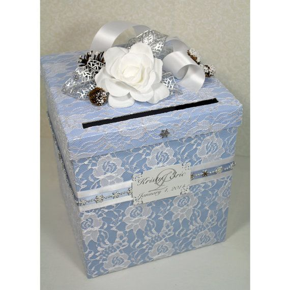 Aww. All Blue And White Lace, Winter Themed Wedding Money Box.