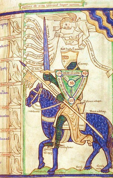 Late medieval miniatures *** THE KNIGHT OF FAITH ***  [The British Library - Harley MS 3244, f. 28]