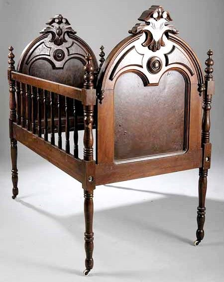 victorian renaissance revival furniture | Furniture: Crib | Victorian Renaissance Revival Walnut Arched