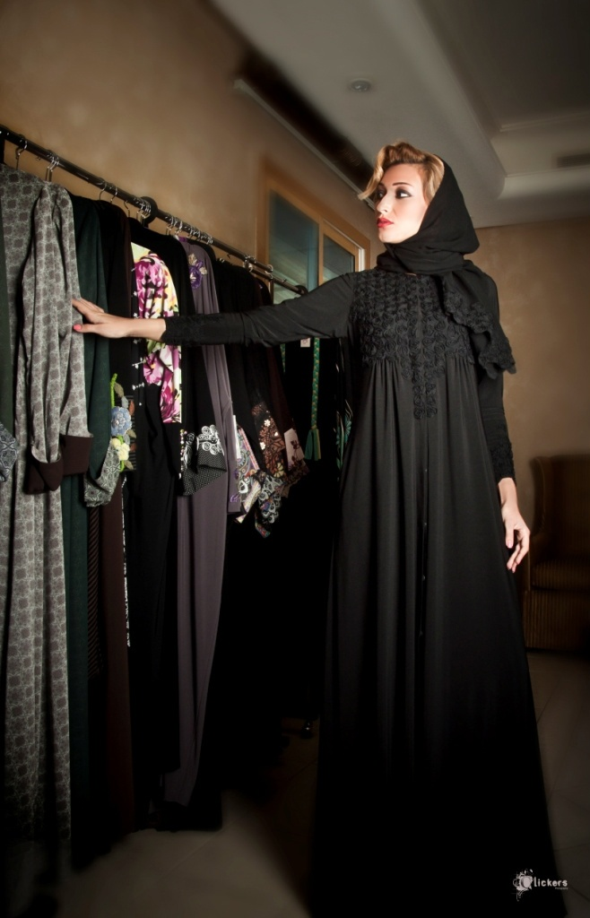 Romantic all black with ruffle detail abaya by Sue.