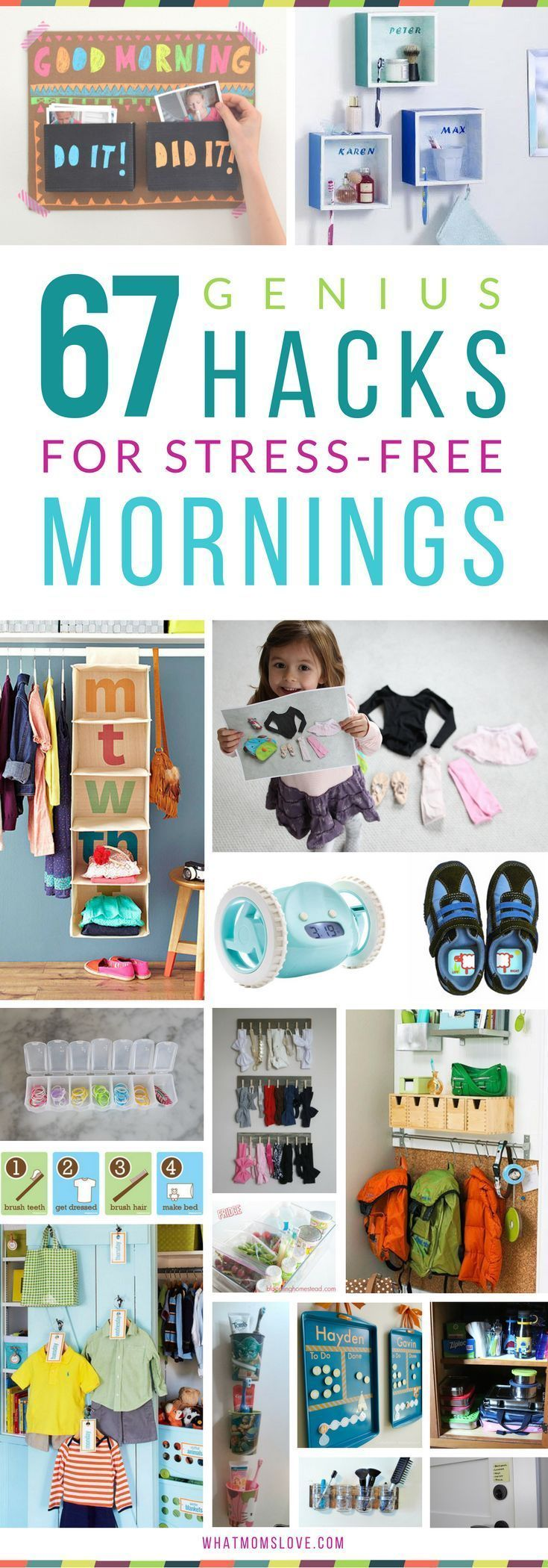 Hacks, Tips and Tricks for Stress-Free Mornings with Kids | Organization ideas for back-to-school. including morning routine checklists, clothes organization, command centers and backpack nooks, bathroom hacks, and more! Get all the inspiration at http://