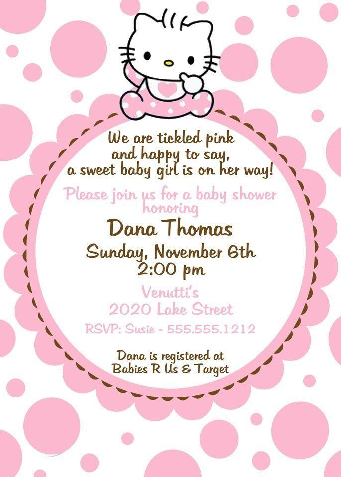 20 Hello Kitty Invitation Template Simple Template Design In 2021 Hello Kitty Baby Shower Baby Shower Party Invitations Hello Kitty Invitations