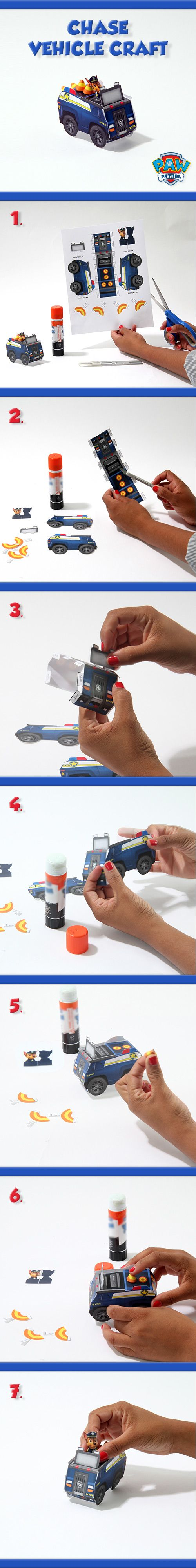 Make your own Paw Patrol's Chase Paper Vehicle with this easy to follow template!